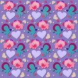 Naadloos patroon met olifanten en harten 2 Stock Afbeelding