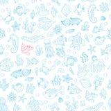 Naadloos patroon met onderwaterdieren Stock Afbeeldingen
