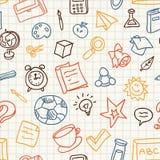 Naadloos patroon met onderwijs en schoolpictogrammen Royalty-vrije Stock Foto