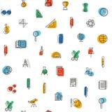 Naadloos patroon met onderwijspictogrammen royalty-vrije stock afbeeldingen