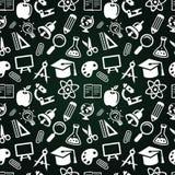 Naadloos patroon met onderwijspictogrammen Stock Foto