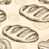 Naadloos patroon met ongezuurd broodje en baguette Royalty-vrije Stock Afbeelding