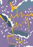 Naadloos patroon met onweersbui en regen Royalty-vrije Stock Foto's