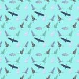 Naadloos patroon met ooievaars en wolken op een blauwe achtergrond royalty-vrije illustratie