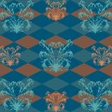 Naadloos patroon met oranje bloempatroon op donkerblauwe Rob op de achtergrond Stock Afbeelding