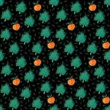 Naadloos patroon met oranje en exotisch blad stock illustratie
