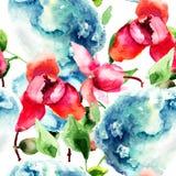 Naadloos patroon met Orchidee en Hydrangea hortensia blauwe bloemen Stock Foto