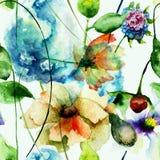 Naadloos patroon met originele bloemen Royalty-vrije Stock Afbeelding
