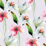 Naadloos patroon met originele bloemen Stock Foto's