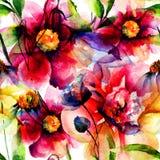 Naadloos patroon met originele bloemen Stock Afbeeldingen