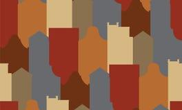 Naadloos patroon met oude historische gebouwen van Amsterdam Vlakke stijl vectorillustratie Stock Foto's