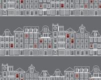 Naadloos patroon met oude historische gebouwen van Amsterdam Vlakke stijl vectorillustratie Stock Afbeeldingen