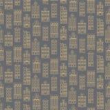 Naadloos patroon met oude historische gebouwen van Amsterdam Vlakke stijl vectorillustratie Royalty-vrije Stock Foto's