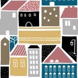 Naadloos patroon met oude stadsgebouwen Royalty-vrije Stock Afbeelding
