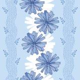 Naadloos patroon met overladen witlofbloem in blauw op de lichtblauwe achtergrond met strepen Bloemenachtergrond in contourstijl Royalty-vrije Stock Afbeeldingen