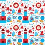 Naadloos patroon met overzeese pictogrammen op witte achtergrond Naadloos patroon Rood en blauw Vector Stock Foto's