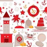 Naadloos patroon met overzeese pictogrammen op witte achtergrond Naadloos patroon Rood en grijs Vector Royalty-vrije Stock Afbeeldingen