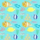 Naadloos patroon met overzeese vissen Royalty-vrije Stock Afbeeldingen