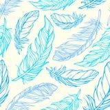 Naadloos patroon met overzichts decoratieve veren Stock Afbeeldingen