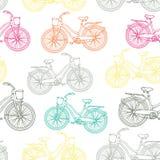 Naadloos patroon met overzichts uitstekende fietsen Royalty-vrije Stock Afbeeldingen