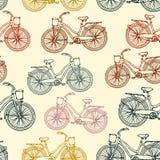 Naadloos patroon met overzichts uitstekende fietsen Royalty-vrije Stock Fotografie