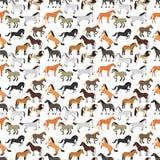 Naadloos patroon met paard in vlakke stijl vector illustratie