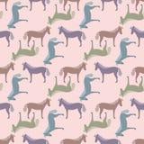 Naadloos patroon met paarden Stock Afbeelding