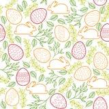Naadloos patroon met Paashaas, eieren en Royalty-vrije Stock Afbeeldingen