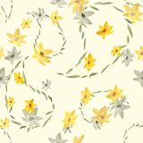 Naadloos patroon met Paisley en beige en grijze bloemen op een lichtgele achtergrond watercolor Stock Foto