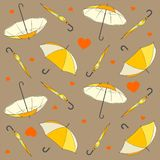 Naadloos patroon met paraplu's en hartenvector vector illustratie