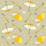 Naadloos patroon met paraplu's en hartenvector royalty-vrije illustratie