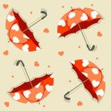 Naadloos patroon met paraplu's en hartenvector stock illustratie