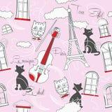 Naadloos patroon met Parijs en muziek-01 stock illustratie