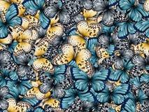 Naadloos patroon met partij van verschillende butterflys Stock Fotografie
