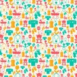 Naadloos patroon met pasgeboren babypictogrammen Stock Foto