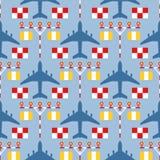 Naadloos patroon met passagiersvliegtuigen, strooklichten en tekens Royalty-vrije Stock Foto