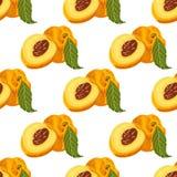 Naadloos patroon met peachs Stock Fotografie