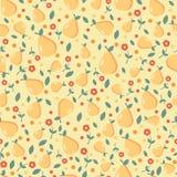 Naadloos patroon met peren en bloemen Stock Foto's
