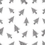 Naadloos patroon met pijnboomboom Stock Foto