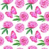 Naadloos patroon met pioenen en roze vlinder Hand getrokken waterverfillustratie Textuur voor druk, stof, textiel stock illustratie