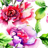 Naadloos patroon met Pioenenbloemen Stock Afbeeldingen