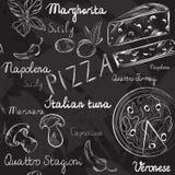 Naadloos patroon met Pizzamenu Stock Afbeeldingen