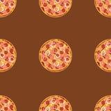 Naadloos patroon met pizzasalami Stock Afbeelding