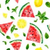Naadloos patroon met plakken van watermeloen, citroen en betekend leav stock illustratie
