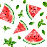 Naadloos patroon met plakken van watermeloen en bedoelde bladeren op w royalty-vrije illustratie