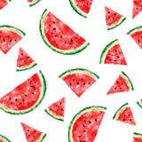 Naadloos patroon met plakken van watermeloen op witte achtergrond stock illustratie