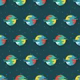 Naadloos patroon met planeten en sterren stock illustratie