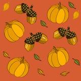 Naadloos patroon met pompoenen, bladeren en eikels Royalty-vrije Illustratie