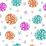 Naadloos patroon met pompoms en sterren vector illustratie