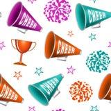 Naadloos patroon met pompoms, kop, sterren en megafoons royalty-vrije illustratie